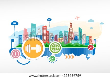 Dumbbell sign icon and cityscape background with different icon and elements. - stock vector