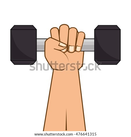 dumbbell weights gym equipment hand lift fitness lifestyle silhouette vector illustration