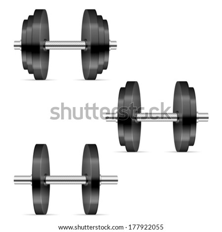 Dumbbells on a white background.