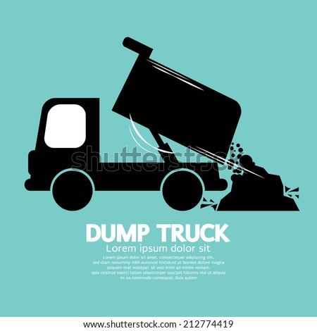 Dump Truck Carried And Unloading Loose Material  - stock vector