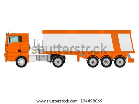 Dump truck isolated on white background. Vector