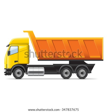 Dump truck isolated on white photo-realistic vector illustration - stock vector