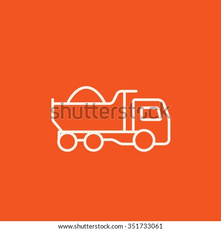 Dump truck line icon for web, mobile and infographics. Vector white icon isolated on red background. - stock vector