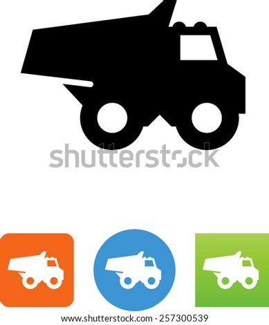 Dump truck symbol for download. Vector icons for video, mobile apps, Web sites and print projects.  - stock vector