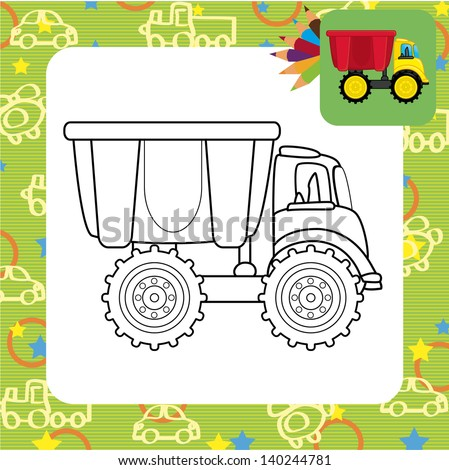 Dump truck toy.Coloring page. - stock vector