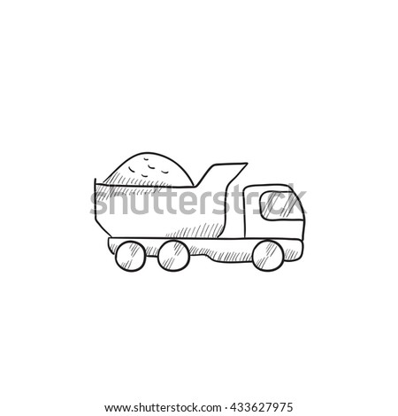 Dump truck vector sketch icon isolated on background. Hand drawn Dump truck icon. Dump truck sketch icon for infographic, website or app. - stock vector