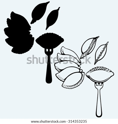 Dumplings, food set. Isolated on blue background - stock vector