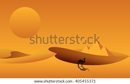 Dunes, pyramids, camel on the background of desert landscape. Sahara desert in Egypt. Vector illustration. - stock vector