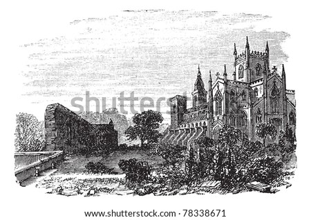 Dunfermline in Fife, Scotland, during the 1890s, vintage engraving. Old engraved illustration of Dunfermline. Trousset Encyclopedia - stock vector