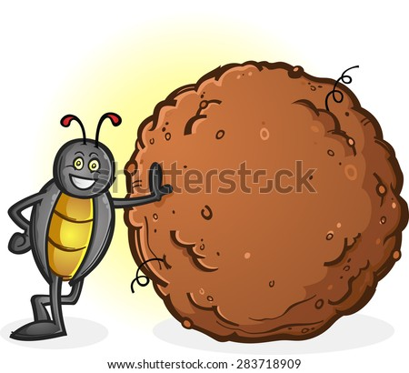 Dung Beetle with a Big Ball of Poop Cartoon Character - stock vector