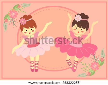 Duo Cute Pink Ballerina Girl.Two ballerina girls with pink dress tutu dancing ballet in pink theme background. - stock vector