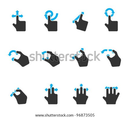 Duo Tone Color Icons - Track Pad Gestures - stock vector