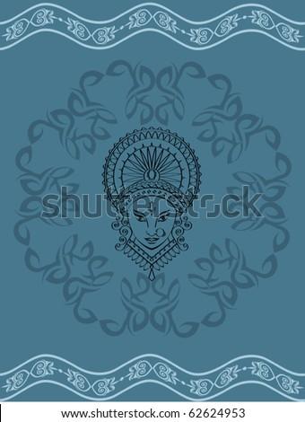 Durga Greeting - stock vector