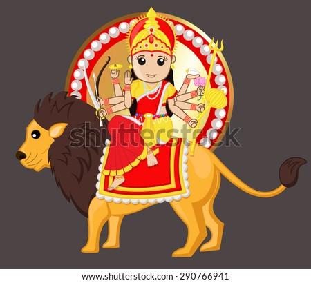 Durga Mata Riding Lion - stock vector