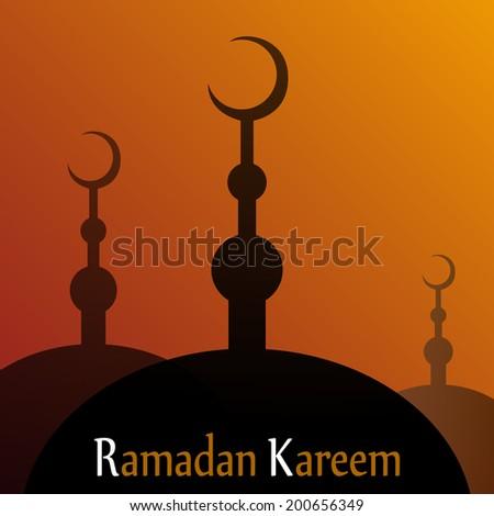 Dusk Mosques Eid Mubarak (Blessed Eid) card in vector format. Ramadan Kareem - stock vector