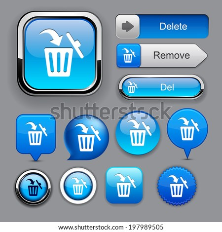 Dustbin blue design elements for website or app. Vector eps10.  - stock vector