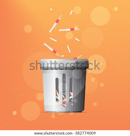 Dustbin for drugs and cigarettes - stock vector