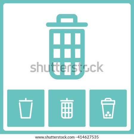 Dustbin icon set. Web vector graphic. Design collection. - stock vector
