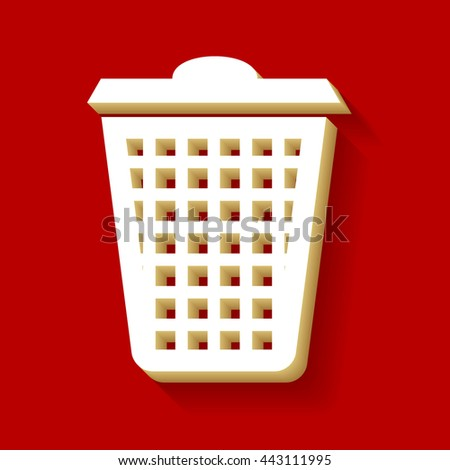 Dustbin vector icon. White button icon with wood color and shadow on dark red background. - stock vector