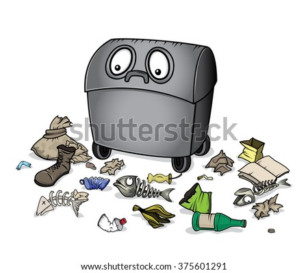 dustbin with garbage vector illustration - stock vector