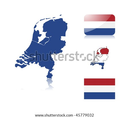 Dutch  map including: map with reflection, map in flag colors, glossy and normal flag of the Netherlands. - stock vector