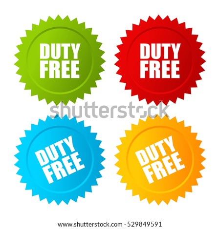 Duty free vector label set illustration isolated on white background. Duty free sticker set.