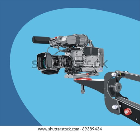 dv-cam camcorder on crane - stock vector