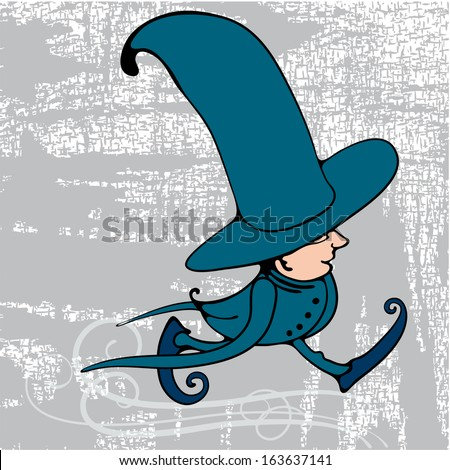 Dwarf in strange clothes, with long sleeves, quick steps. - stock vector