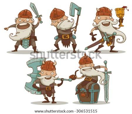 Dwarfs set, vector - stock vector