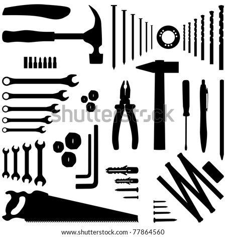 dyi tool - silhouette illustration - stock vector