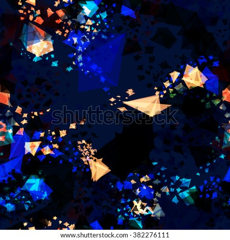Dynamic abstract seamless dark blue background for brochure, flyer design template. Background for book design, blank, print design, flyer design, flyer template. Triangular elements. Vector.  - stock vector