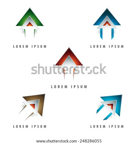 dynamic arrow shaped design logo element with emboss and 3d effect - stock vector