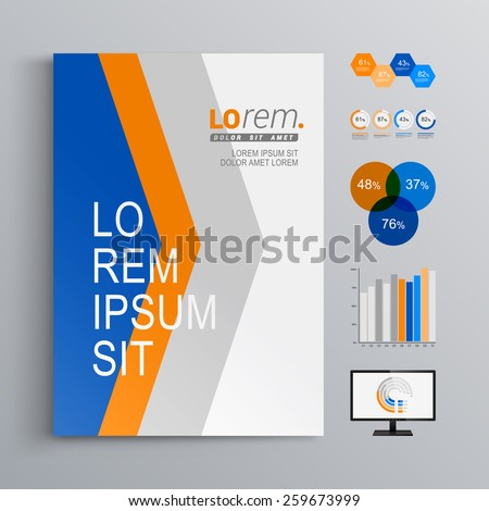 Dynamic brochure template design with blue and orange arrows. Cover layout and infographics - stock vector