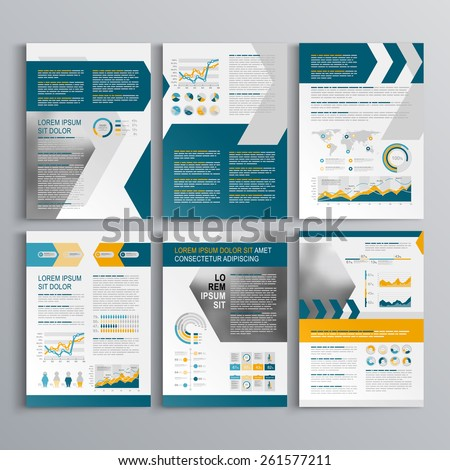 Dynamic brochure template design with yellow and blue arrows. Cover layout and infographics - stock vector