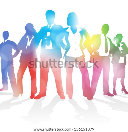 Dynamic Business Team against an Abstract Blur Background.  - stock vector