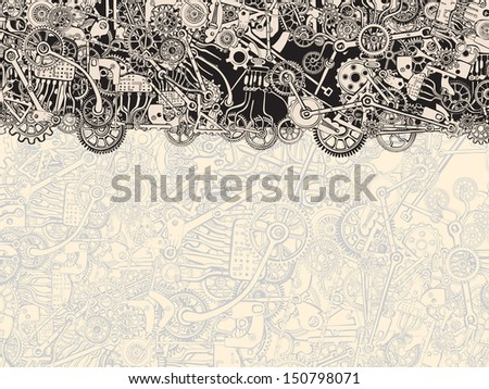 Dynamic Cogs and Metal Parts Background Texture. - stock vector