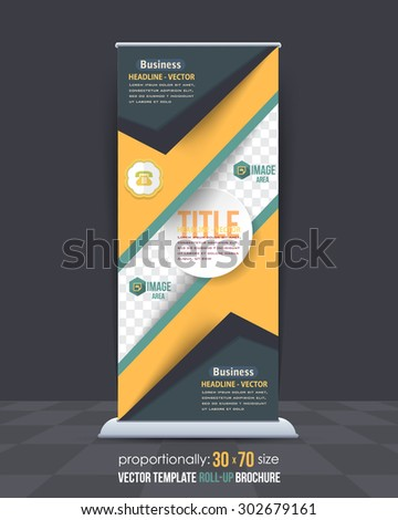 Dynamic Concept Business Theme Roll-Up Banner Design, Advertising Vector Template  - stock vector