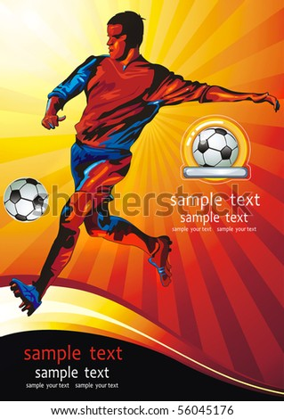 Dynamic golden football player. Soccer Action Player on beautiful Abstract Background. Original Classical illustration sports poster. - stock vector