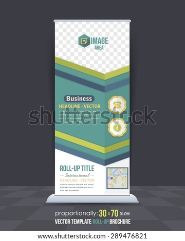 Dynamic Green Colors Business Theme Roll-Up Banner Design, Advertising Vector Template  - stock vector