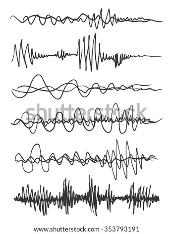 Dynamic hand drown sound wave illustration - stock vector