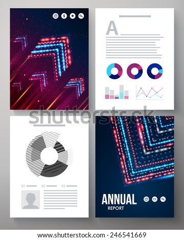 Dynamic vector template for an annual report with a cover pattern of arrows formed from multicolored flashing lights, editable text space and circular and bar graphs for analysis of statistics - stock vector