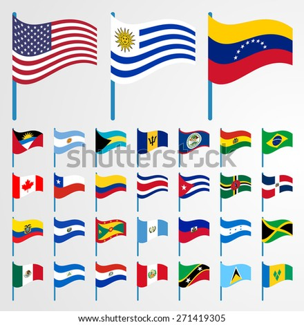 Dynamic waving flag on pole collection 1/6 American continent - stock vector