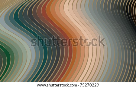 dynamic wavy stripes retro design - stock vector