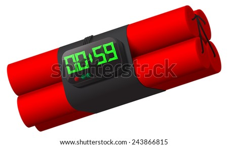 dynamite with self detonation system. - stock vector