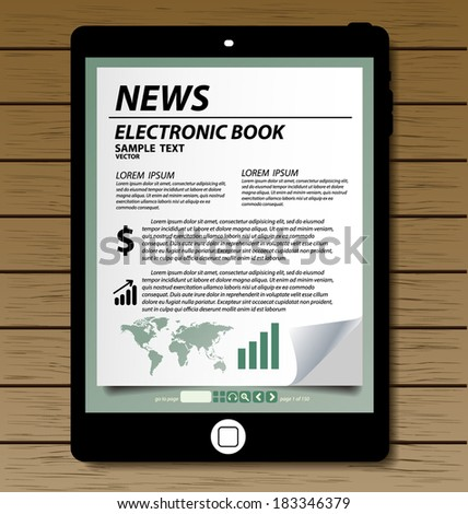 E-book display on tablet vector - stock vector