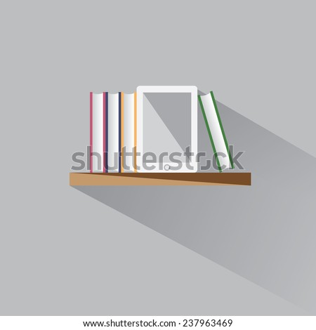 E-book on a shelf among the stacks of books - stock vector