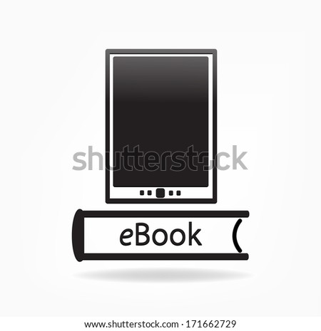 E-book reader, e-reader, book  vector icons - stock vector