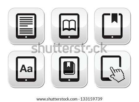 E-book reader, e-reader vector buttons set - stock vector