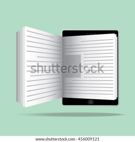 E-book reader icon in flat design.Online reading. E-learning concept. - stock vector