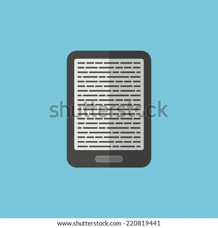 e-book reader icon in flat style. isolated on blue background. trendy modern vector illustration - stock vector